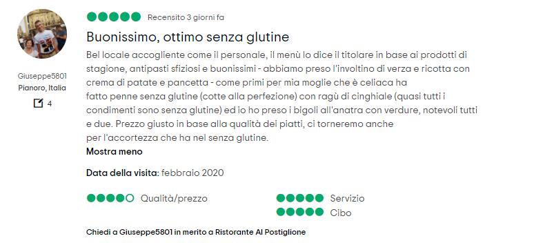Recensione ristorante per celiaci a Rovigo